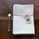 White Spotty Linen Napkins