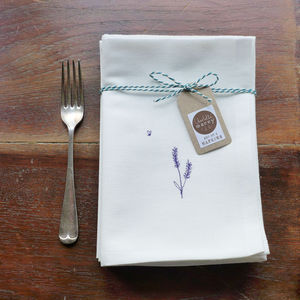 Embroidered Lavender Napkins - dining room