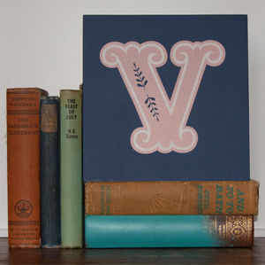 Letter V Screen Printed Wooden Block - baby's room