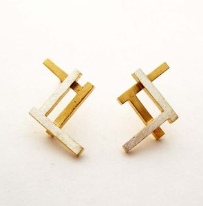 Ruins Fade Away Silver And Gold Plated Earrings - geometric shapes