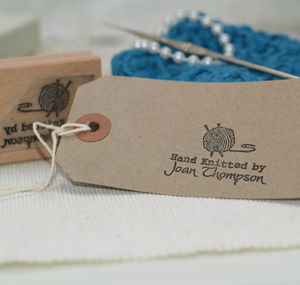 Personalised 'Hand Knitted By' Stamp - office & study