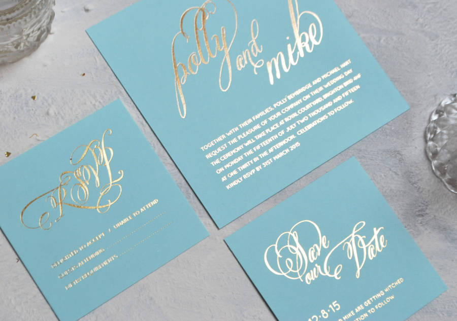 script foiled wedding invitation by annie nettle ...