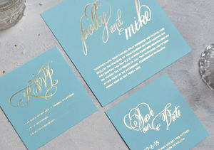 Script Foiled Wedding Invitation - wedding stationery