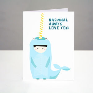 'Narwhal Always Love You' Card - valentine's cards