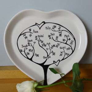 Personalised Family Tree Heart Plate - gifts for families