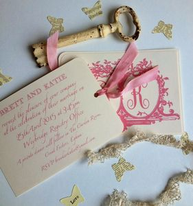 Luggage Tag Vintage Wedding Invitations - invitations