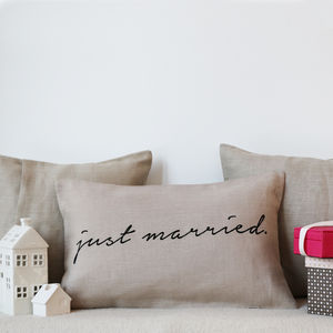 'Just Married' Linen Cushion Cover - weddings sale
