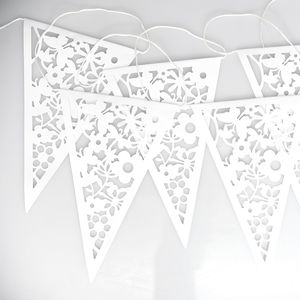 White Lace Paper Bunting - outdoor decorations