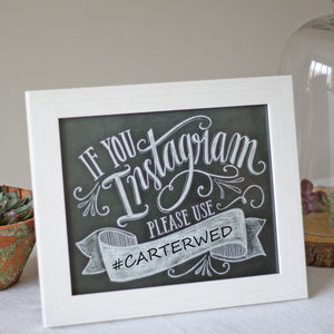 Wedding Instagram Hashtag Print - chalkboard styling