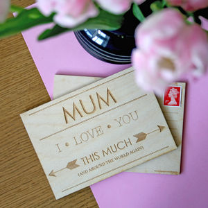 Wooden Postcard For Mother's And Mum's