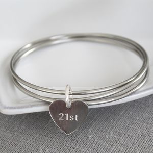 Birthday Cluster Of Heart Bangles - bracelets & bangles