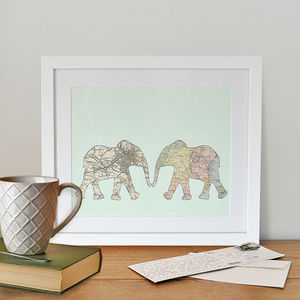 Personalised Map Elephants - posters & prints