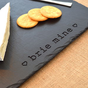 Romantic Engraved Slate Brie Mine Platter