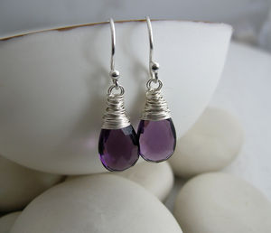 Amethyst Quartz Briolette Drops - earrings