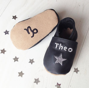 Personalised Zodiac Star Sign Constellation Baby Shoes - christening gifts