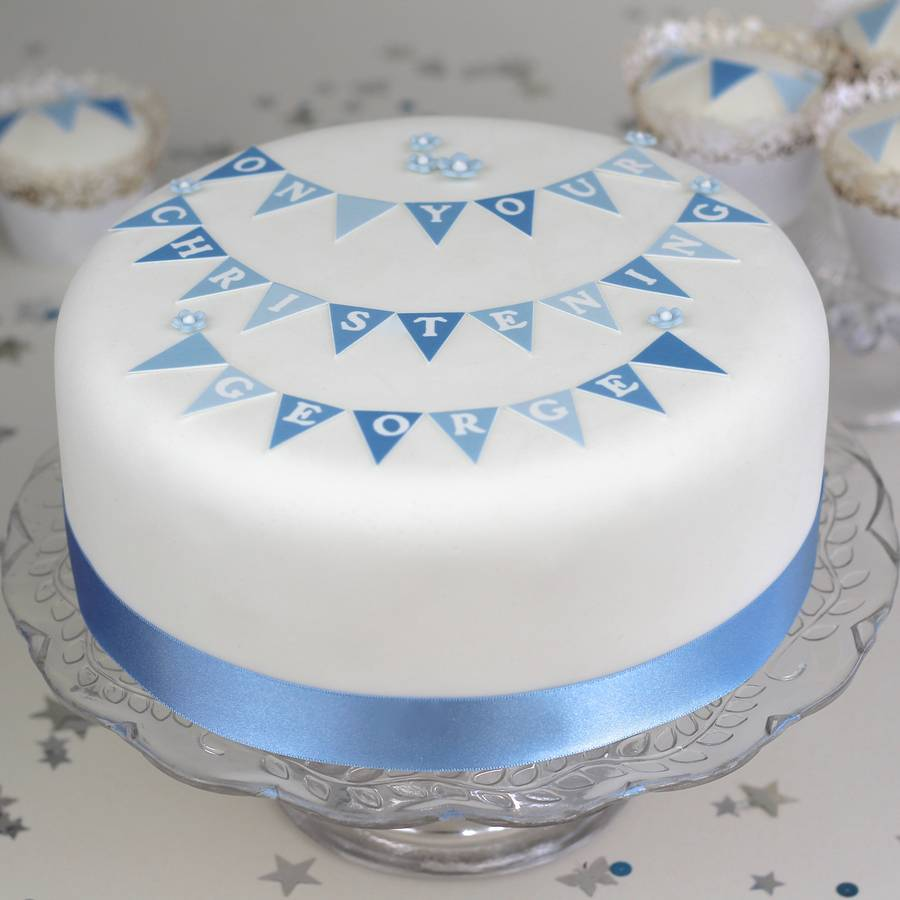 Cake Decorating Christening Personalised : boys christening cake decorating kit with bunting by ...