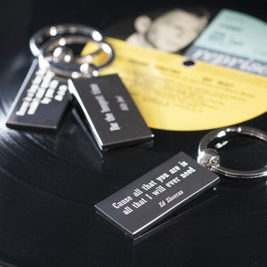 Favourite Lyric Keyring - gifts under £25 for her