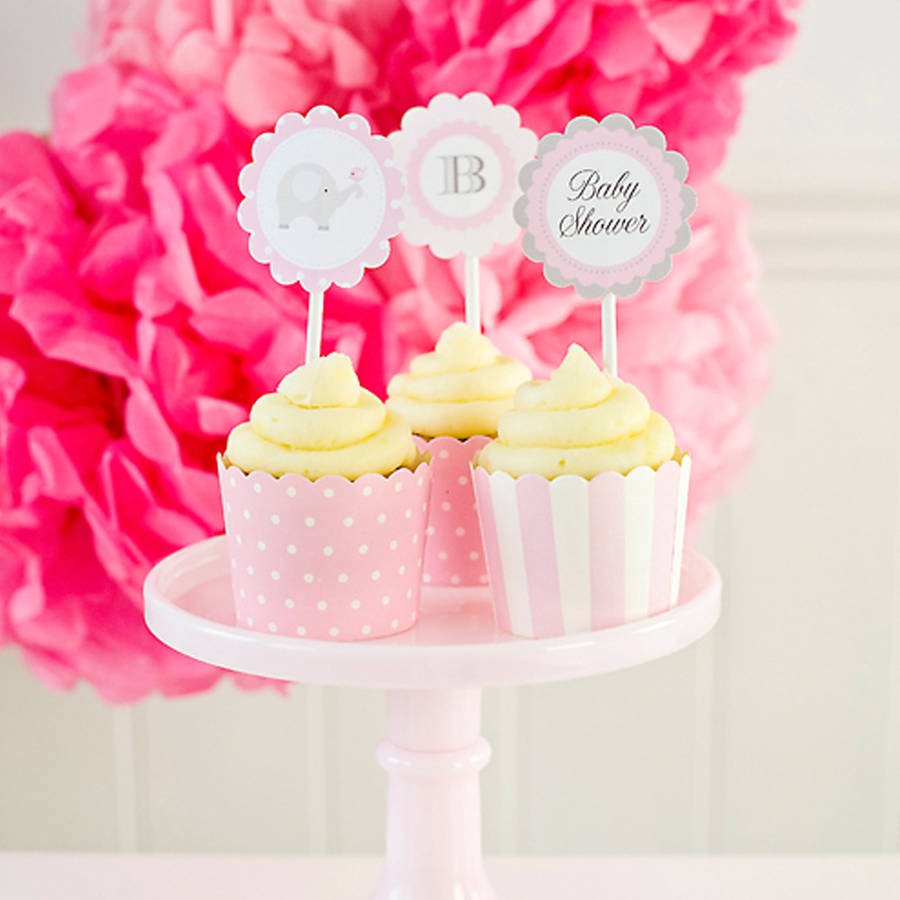 Baby shower pink cupcake toppers by feather grey parties for Baby shower cupcake picks decoration