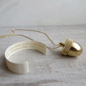 Secret Message Acorn Locket Necklace - gifts for her