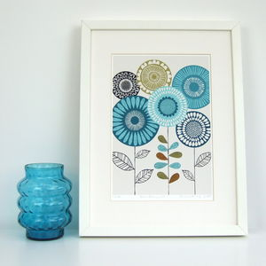 Blue Floral Giclee Print - modern & abstract