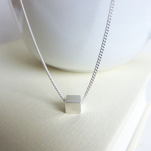 Tiny Silver Cube Necklace - geometric shapes