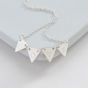 Personalised Silver Bunting Necklace