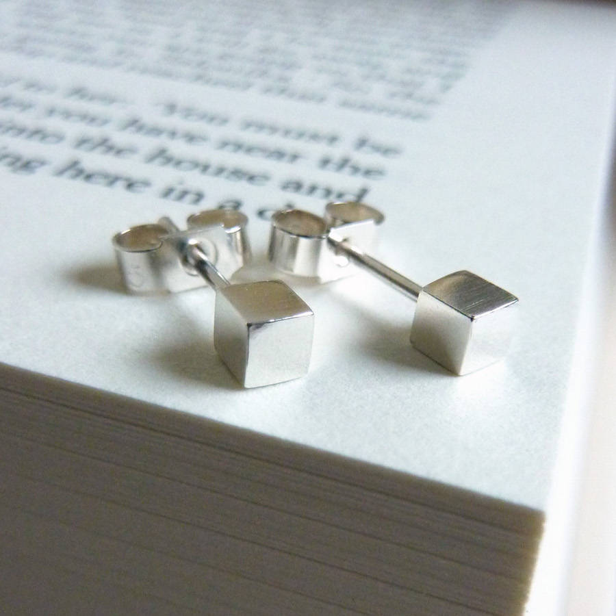 Silver Cube Earrings