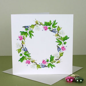 ' Flower Wreath ' Spring Card - birthday cards