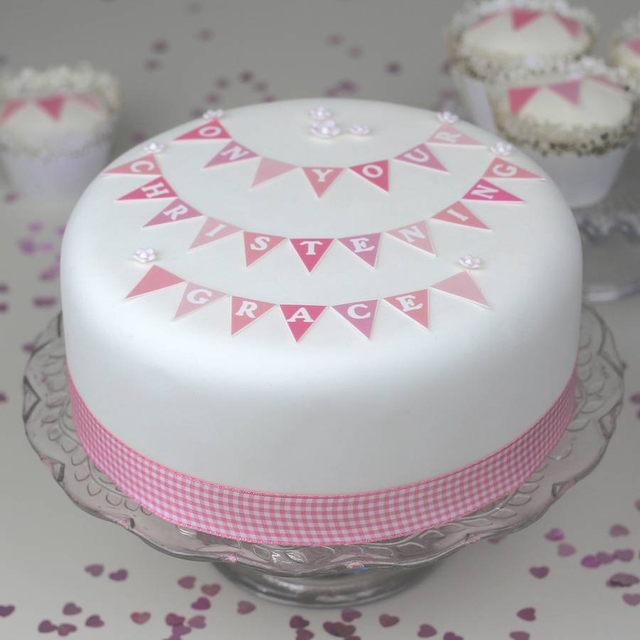 Girls Christening Cake With PINK GINGHAM Ribbon