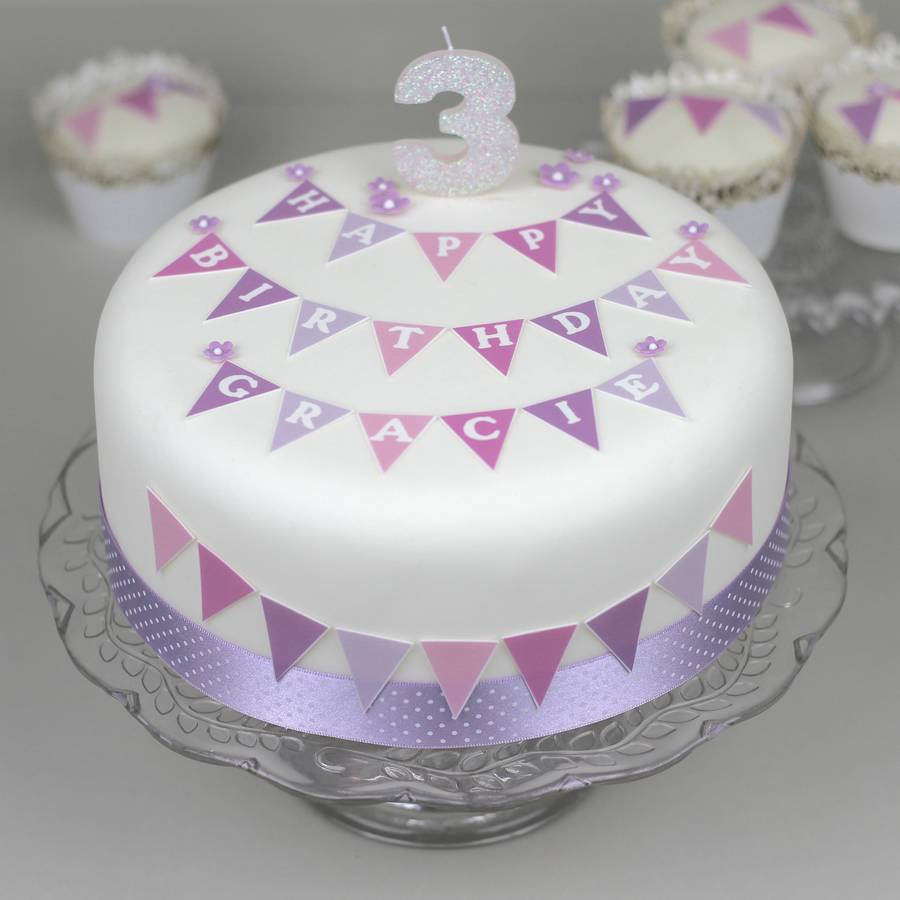 Girls Christening Cake Bunting Decoration Kit Mauve And Pink With MAUVE POLKA DOT Ribbon