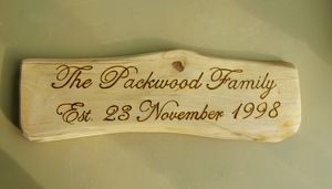 Personalised Driftwood Style Family Name Plaque