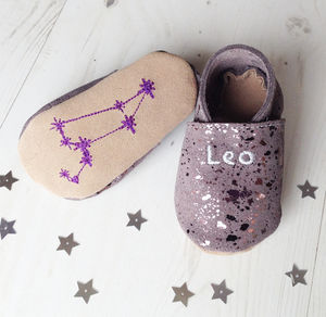 Star Sign Constellation Moonstone Suede Baby Shoes