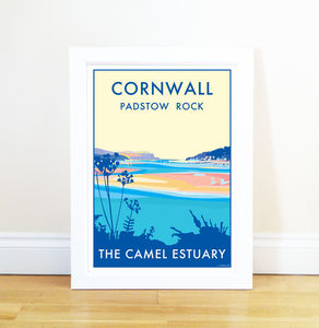Cornwall Camel Estuary Vintage Style Seaside Poster