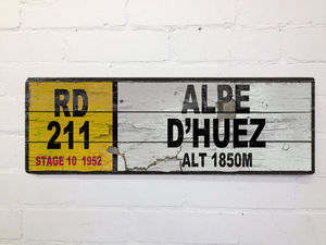Vintage Style Alpe D'huez French Road Sign