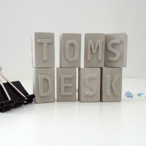 Personalised Concrete Letters Desk Name