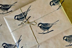 Lino Printed British Great Tit Bird Wrapping Paper