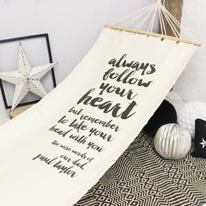 Personalised 'Wise Words' Hammock - outdoor dining