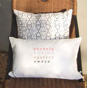 Cotton Alphabet Print Oblong Cushion Cover