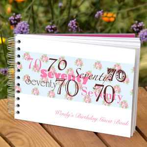Personalised 70th Birthday Guest Book