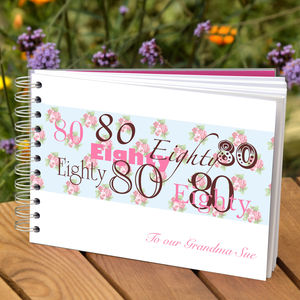 Personalised 80th Birthday Guest Book - albums & guest books