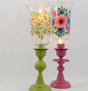 Hand Painted Hurricane Lantern - candles & candle holders