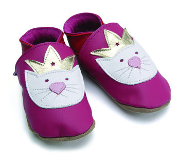 Soft Leather Baby Shoes Princess Paws Fuchsia