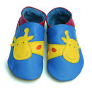 Soft Leather Baby Shoes George Giraffe Blue