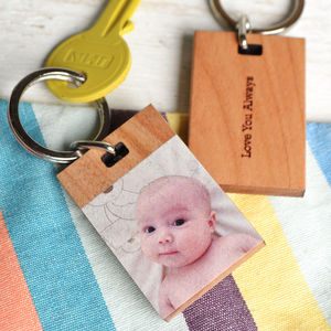 Personalised Photograph Wood Keyring