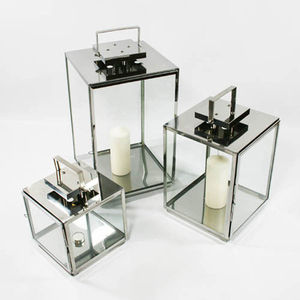 Set Of Three Square Stainless Steel Lanterns