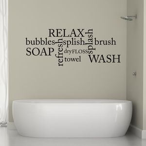 Bathroom Word Cloud Wall Sticker - decorative accessories