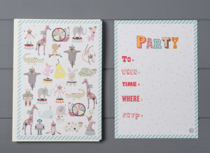 12 Child's Party Invites Pets Design - cards & invitations