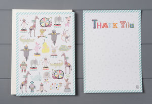 12 Child's Thank You Cards Pets Design