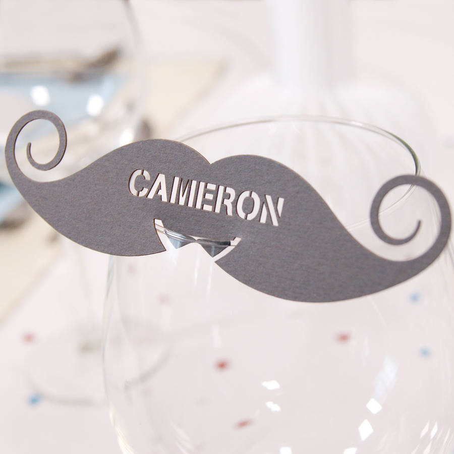 moustache wine glass name place card place cards