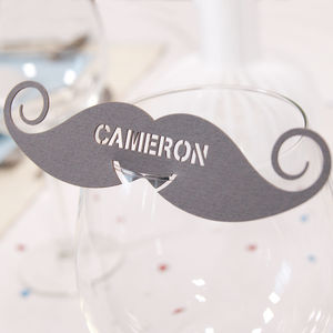 Personalised Moustache Wine Glass Name Place Card - weddings sale